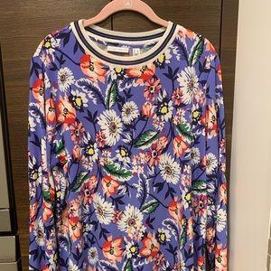 Floral Susan Graver liquid knit top , size Large
